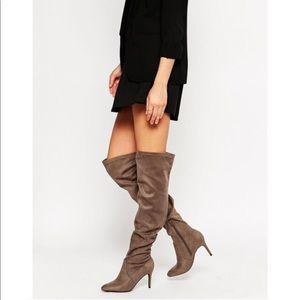 ASOS Suede Over the Knee Slouch Boots